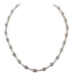 Estate White Diamond Necklace in 18 Karat White Gold