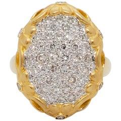 Estate White Diamond Pave Cocktail Ring in 18 Karat Yellow Gold