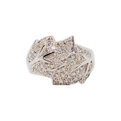 Estate White Diamond Pave Ring in 14 Karat White Gold