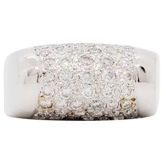 Estate White Diamond Pave Ring in 18 Karat White Gold