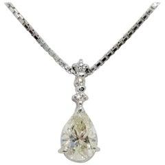 Estate White Diamond Pear Shape Pendant Necklace in Platinum