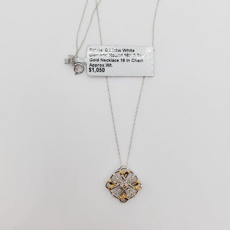 Estate White Diamond Pendant Necklace in 18k Two Tone Gold For Sale 6