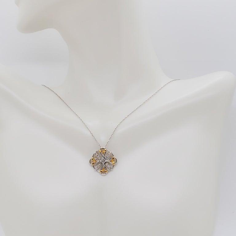 Round Cut Estate White Diamond Pendant Necklace in 18k Two Tone Gold For Sale