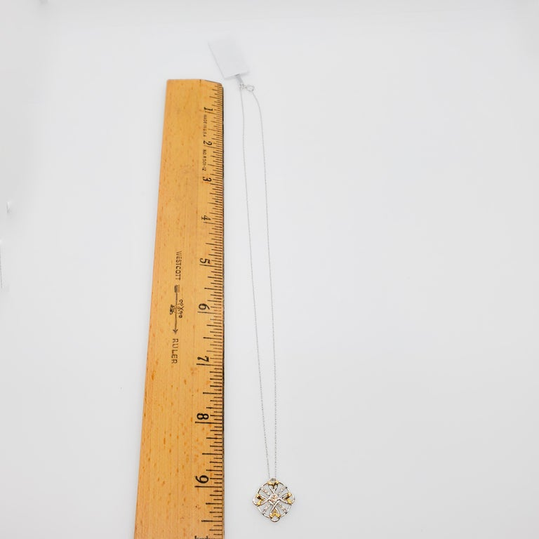 Women's or Men's Estate White Diamond Pendant Necklace in 18k Two Tone Gold For Sale