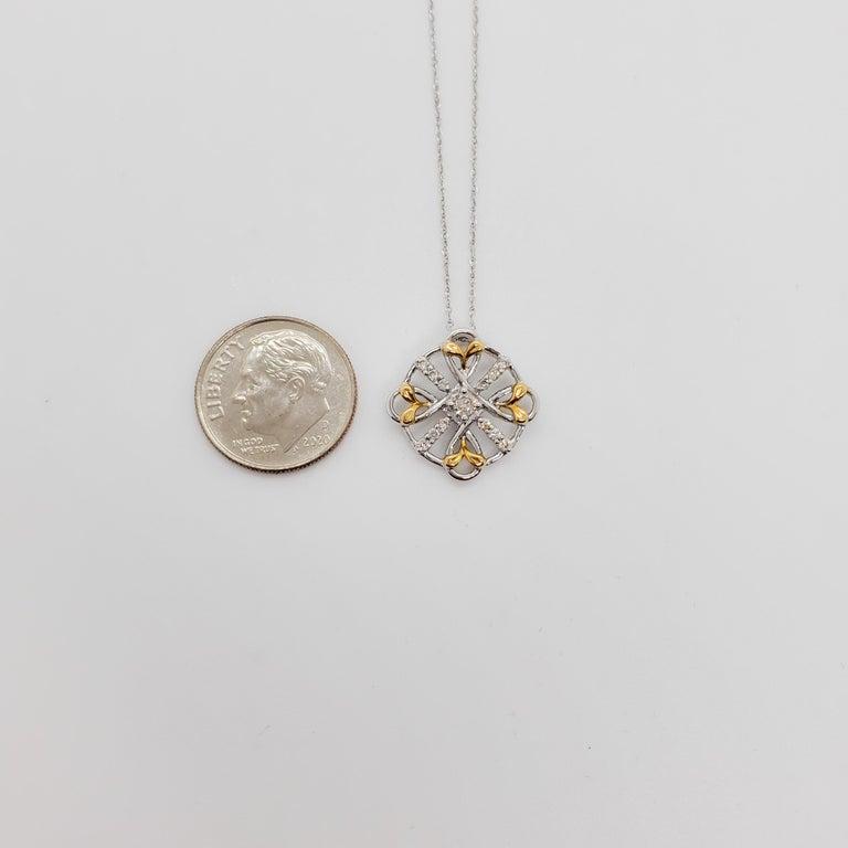 Estate White Diamond Pendant Necklace in 18k Two Tone Gold For Sale 1
