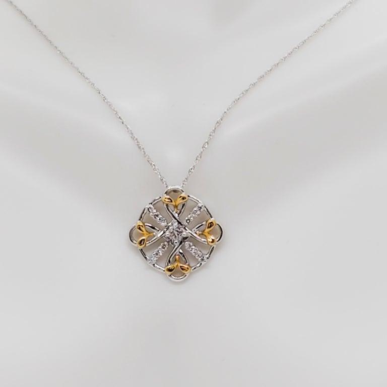Estate White Diamond Pendant Necklace in 18k Two Tone Gold For Sale 4