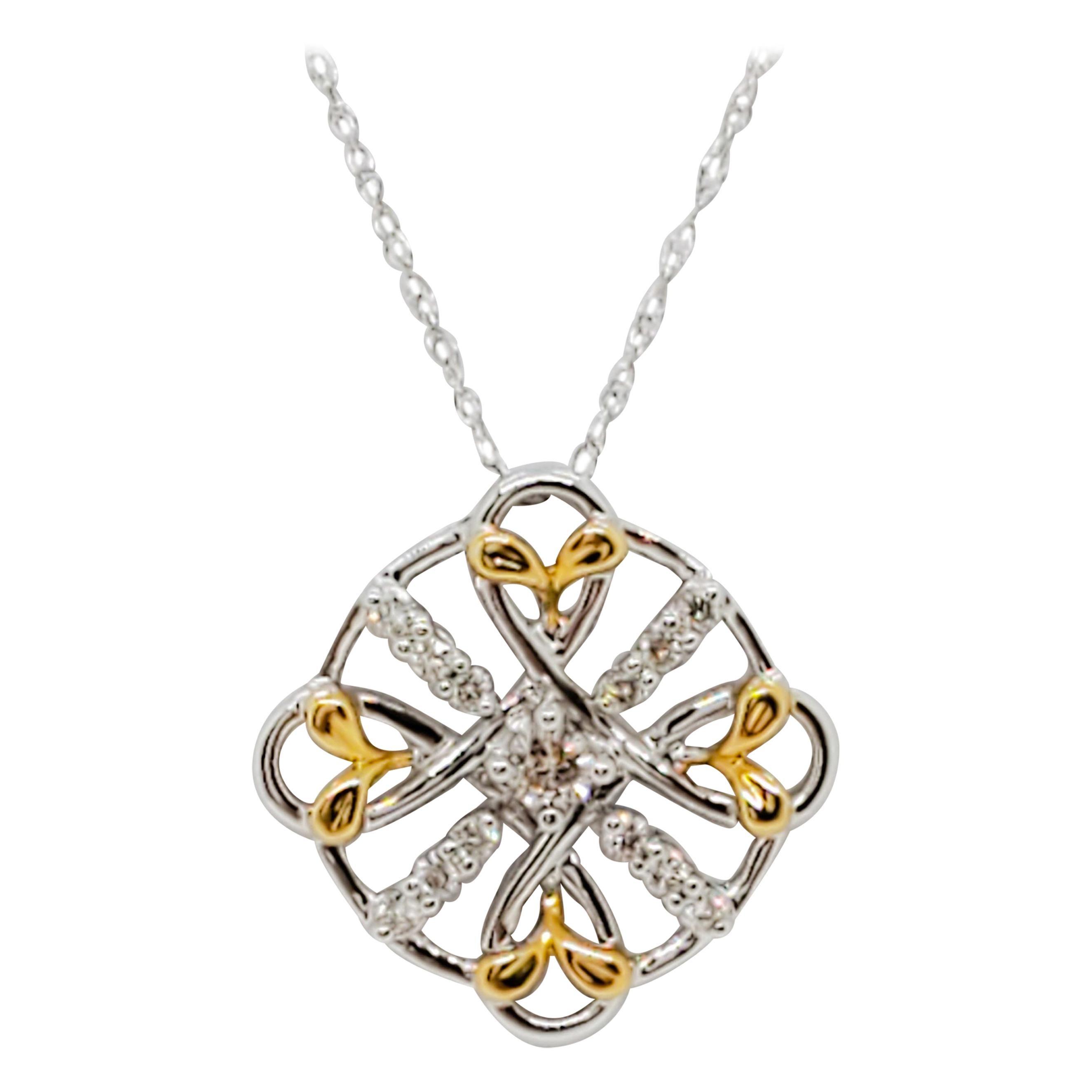 Estate White Diamond Pendant Necklace in 18k Two Tone Gold