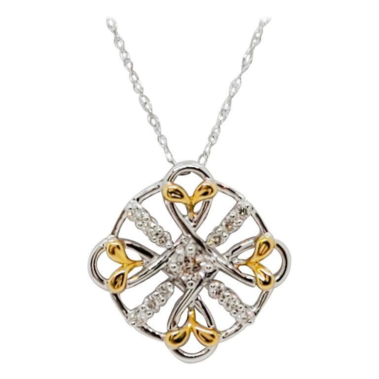 Estate White Diamond Pendant Necklace in 18k Two Tone Gold For Sale