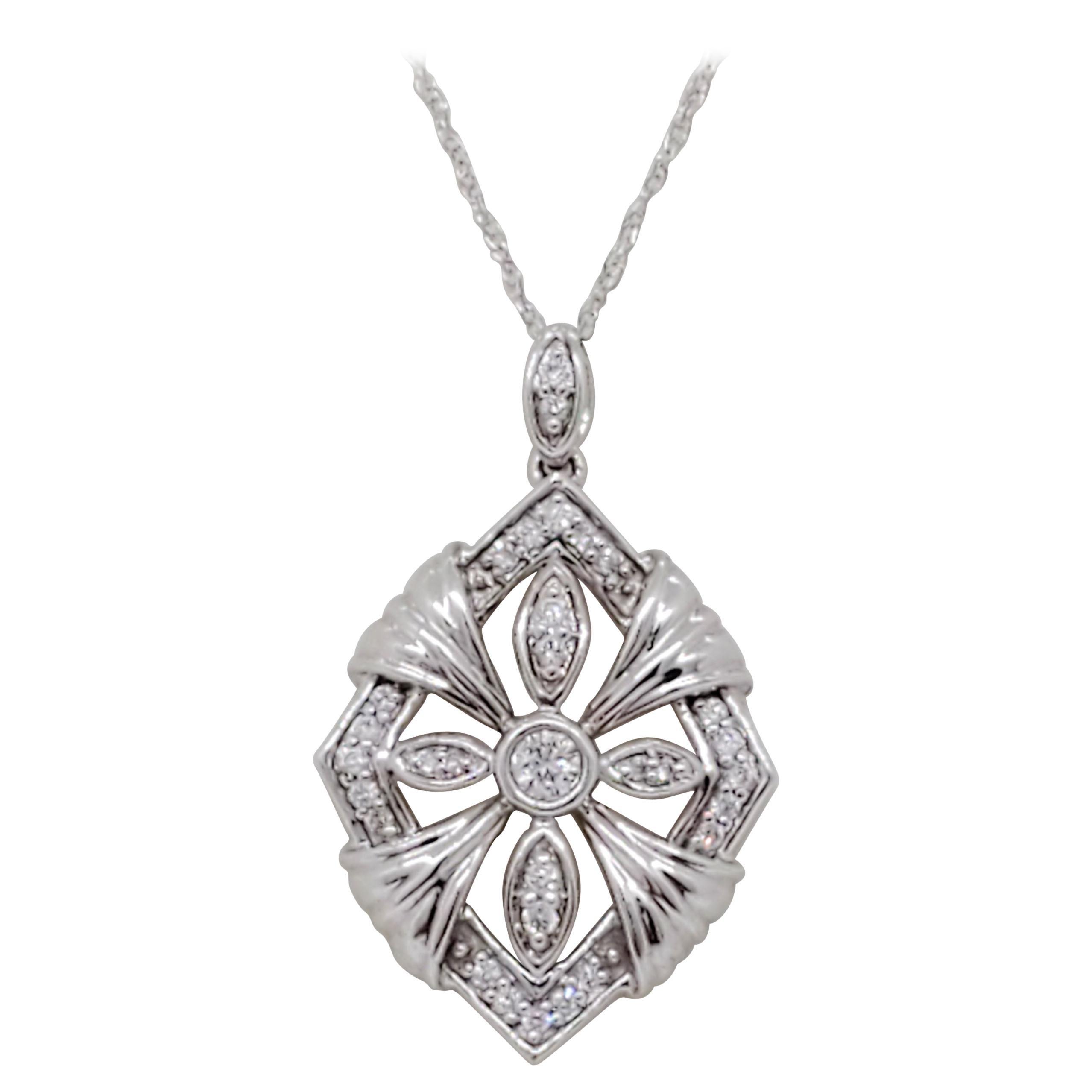 Estate White Diamond Pendant Necklace in 18k White Gold