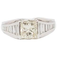 Estate White Diamond Princess Cut Engagement Ring in Platinum
