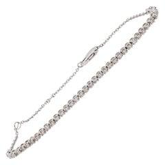 Estate White Diamond Round Bracelet in 14k White Gold