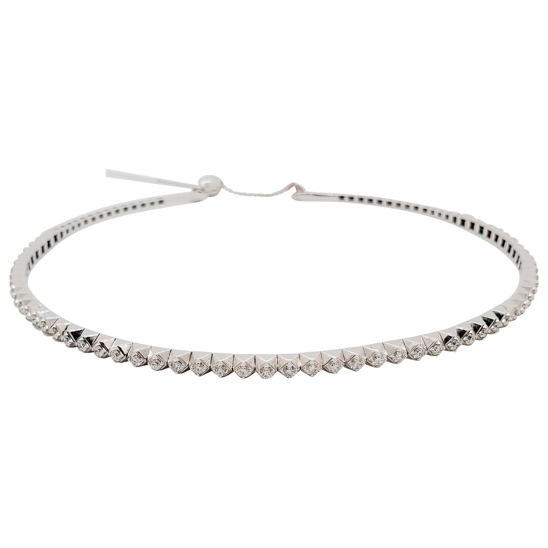 Estate White Diamond Round Choker Necklace in 18k White Gold
