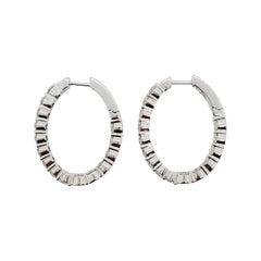 Estate White Diamond Round Hoops in 18k White Gold