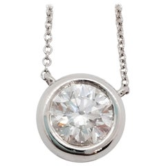 Estate White Diamond Round Necklace in 14 Karat White Gold