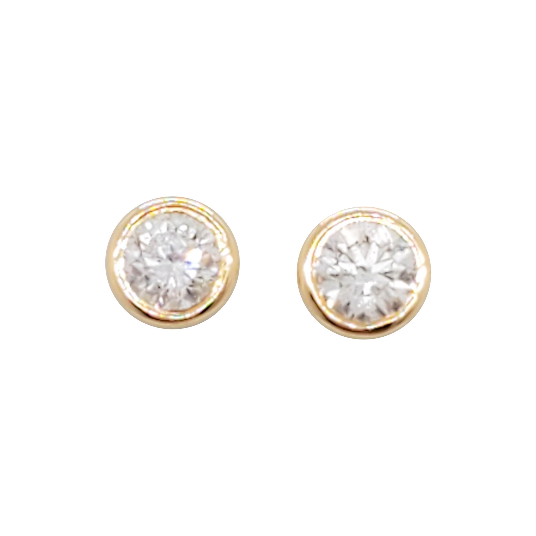 Estate White Diamond Round Stud Earrings in 14k Yellow Gold