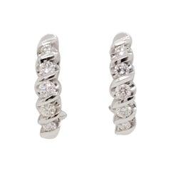 Estate White Diamond Semi Hoops in 14k White Gold
