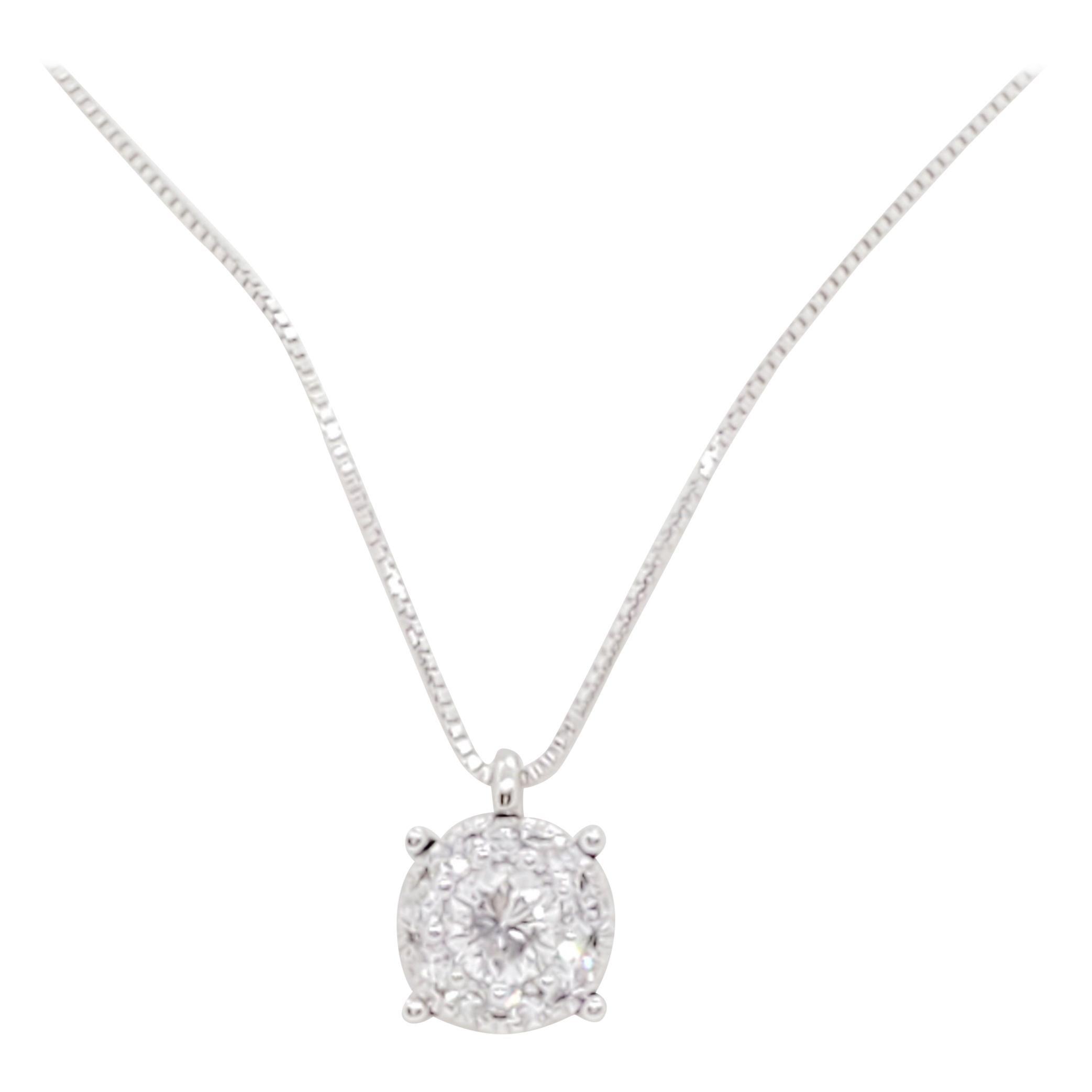 Estate White Diamond Solitaire Pendant Necklace in 18k White Gold