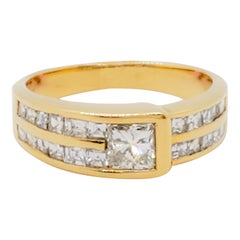 Estate White Diamond Square Band in 18k Yellow Gold