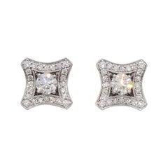 Estate White Diamond Stud Earrings in 14k White Gold