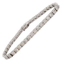 Estate White Diamond Tennis Bracelet in 14k White Gold