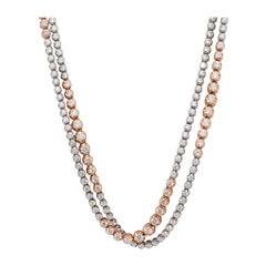 Estate White Diamond Two Tone Tennis Necklace