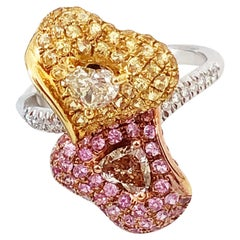 Estate White Diamond, Yellow Sapphire, and Pink Sapphire Cocktail Ring in 18k