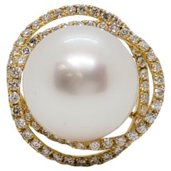 Estate White Pearl Round and White Diamond Cocktail Ring in 18 Karat Yellow Gold