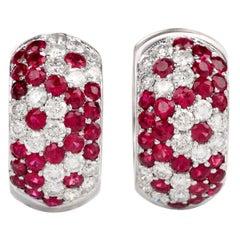Estate Wide Diamond Ruby 18 Karat Hoop Huggies Earrings