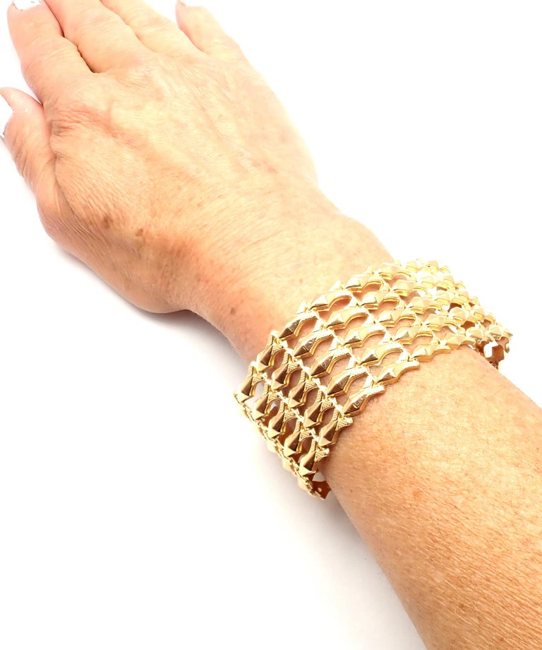 Estate Wide Yellow Gold Link Bracelet For Sale 6