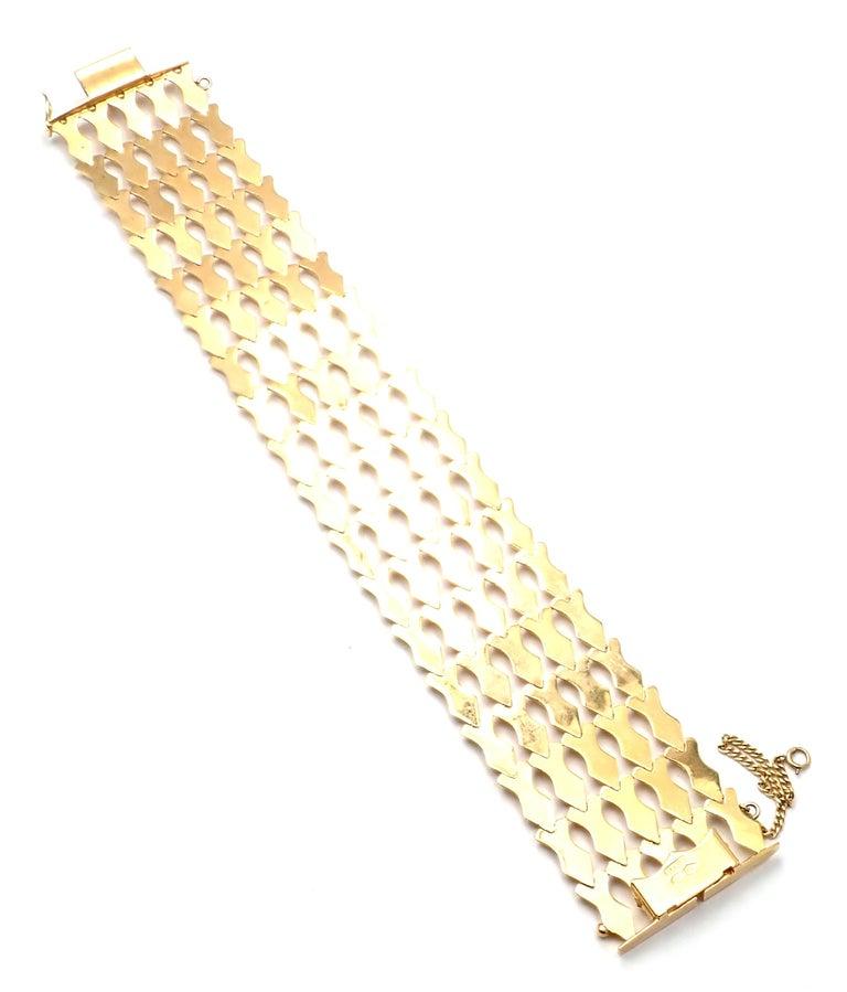 Estate Wide Yellow Gold Link Bracelet For Sale 1