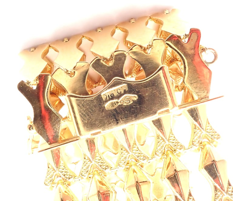 Estate Wide Yellow Gold Link Bracelet For Sale 2