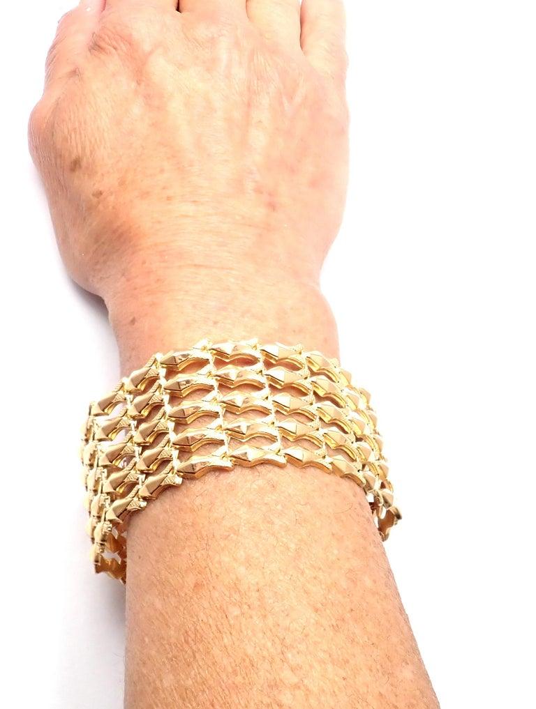 Estate Wide Yellow Gold Link Bracelet For Sale 5