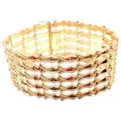 Estate Wide Yellow Gold Link Bracelet