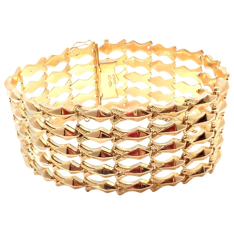 Estate Wide Yellow Gold Link Bracelet For Sale