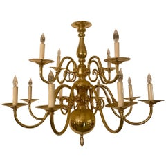 Estate Williamsburg Style Bronze Chandelier with 8 Lights