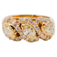 Estate Yellow Diamond Marquise and White Diamond Cocktail Ring in 18 Karat