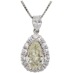 Estate Yellow Diamond Pear and Round Pendant Necklace in Platinum