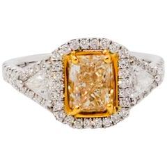 Estate Yellow Diamond Radiant and White Diamond Ring in 18 Karat Gold