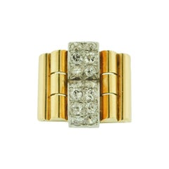 Estate French Diamond Yellow Gold Cocktail Ring