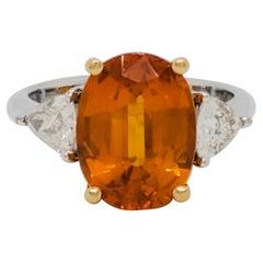 Estate Yellow Sapphire and White Diamond Three Stone Ring in 18k Gold