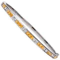 Estate Yellow Sapphire Diamond 18 Karat Gold Bangle Bracelet