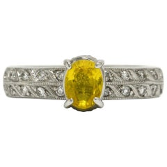 Estate Yellow Sapphire Engagement Ring Oval Solitaire 2-Row Diamond Band 18K WG