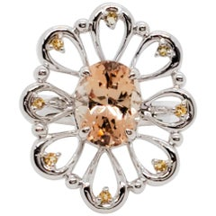 Estate Yellow Topaz Oval Flower Ring in 18 Karat White Gold