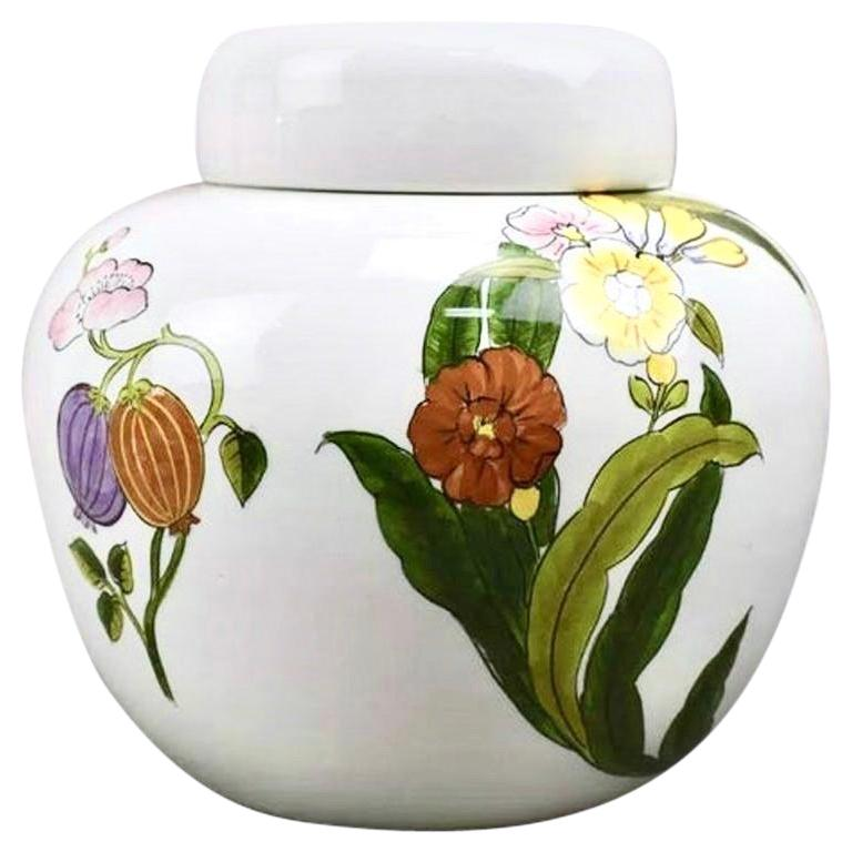 Este Ceramiche for Tiffany & Co. Hand Painted Floral Porcelain Vase and Lid, Urn For Sale