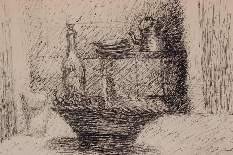 Rustic Esteban Vincente Pen and Ink Drawing - Still Life, 1934 For Sale