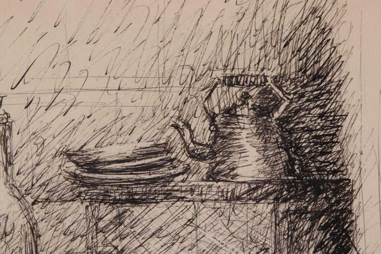 Spanish Esteban Vincente Pen and Ink Drawing - Still Life, 1934 For Sale
