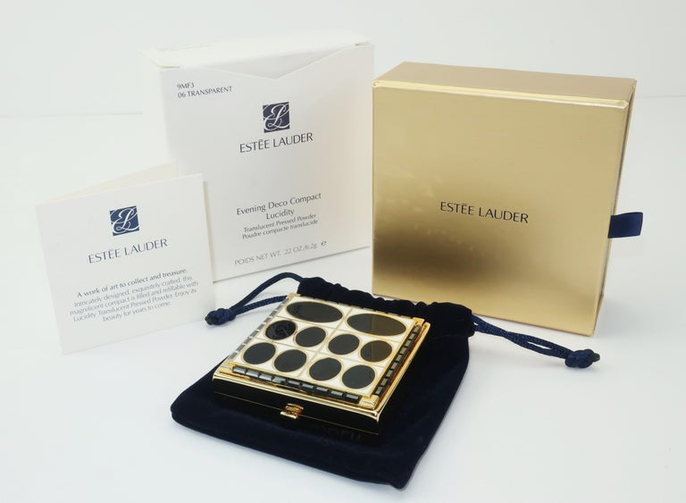 Estee Lauder Evening Art Deco Powder Compact For Sale 5