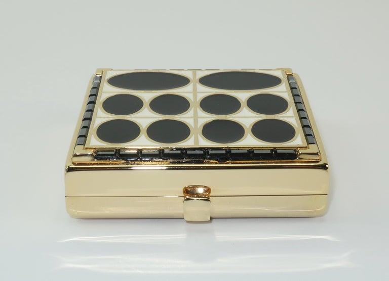 Beige Estee Lauder Evening Art Deco Powder Compact For Sale