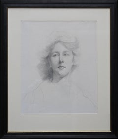 Self Portrait - British Italian art Edwardian pencil drawing female artist