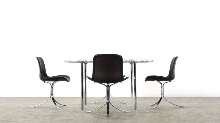 Mid-Century Modern Estelle & Erwin Laverne Carrara Marble Dining Table Laverne International 1951 For Sale